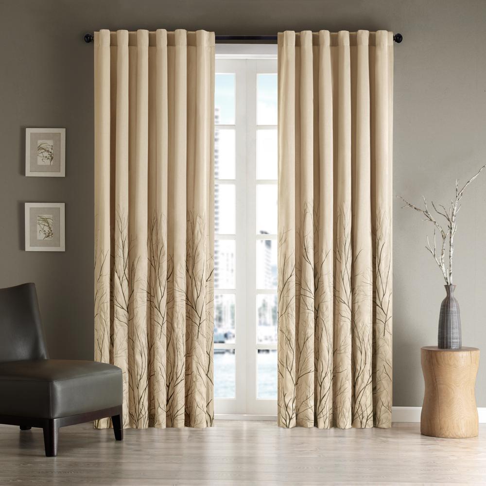 Eliza Tan 50 in. x 84 in. Window Curtain
