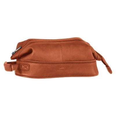 10.5 in. Cognac Classic Toiletry Kit with Organizer