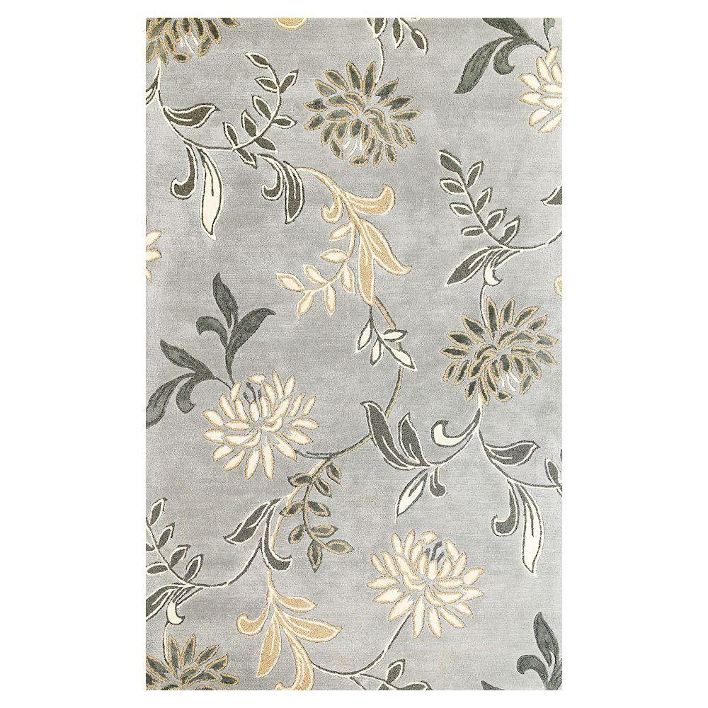 Kas Rugs Perfect Flowers Silver 5 ft. x 8 ft. Area Rug