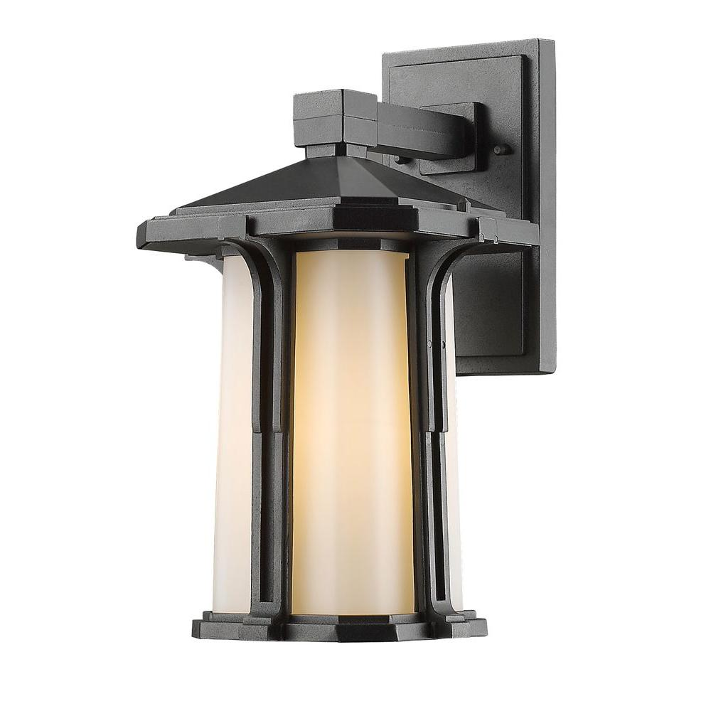 Joslin 1-Light Black Traditional Outdoor Sconce with Matte Opal Glass Shade
