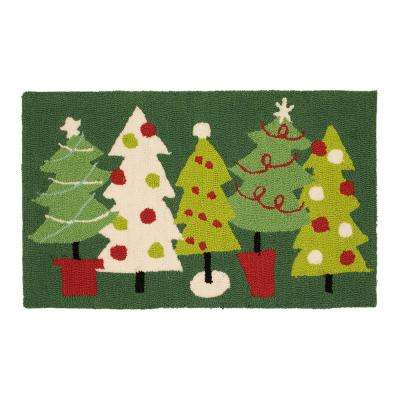 Very Merry Trees 18 in. x 30 in. Hand Hooked Door Mat