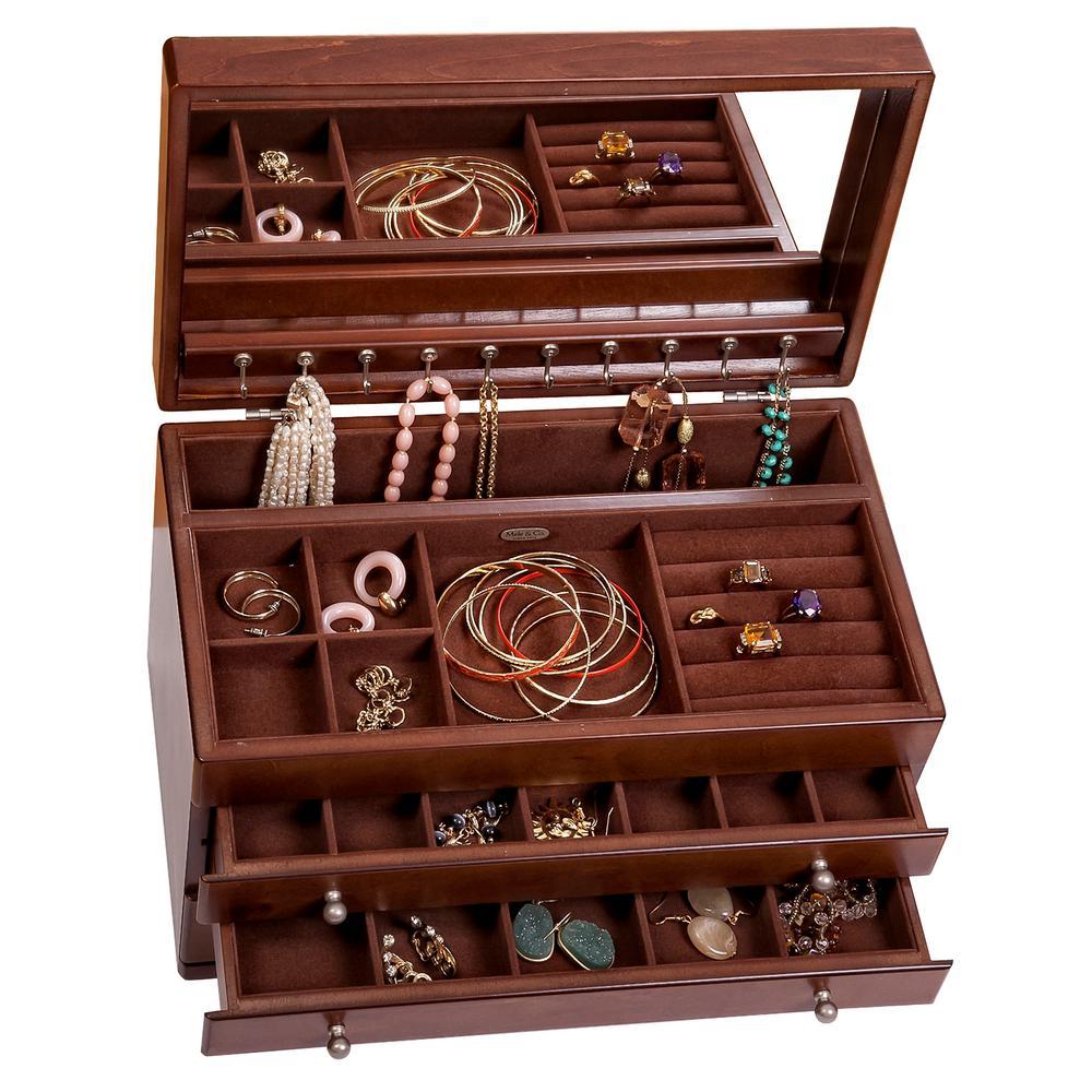 Mele Brigitte Antique Walnut Finish Wooden Jewelry Box00424S13
