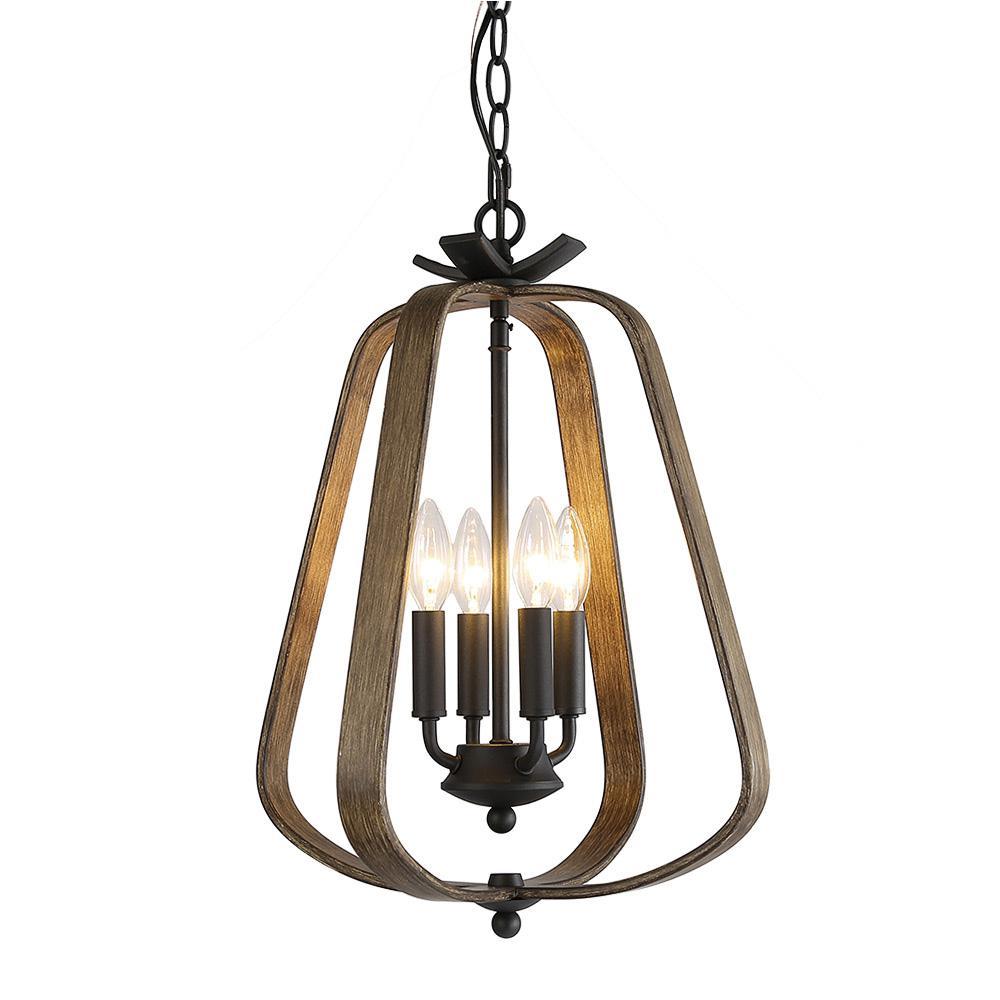 4-Light Black Faux Wood Candle Chandelier