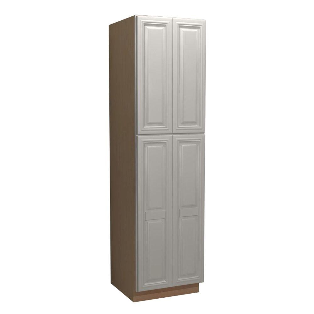 Home Decorators Collection Coventry Assembled 24 x 96 x 24 in. Pantry/Utility 2 Double Door & 4 Rollout Trays Kitchen Cabinet in Pacific White