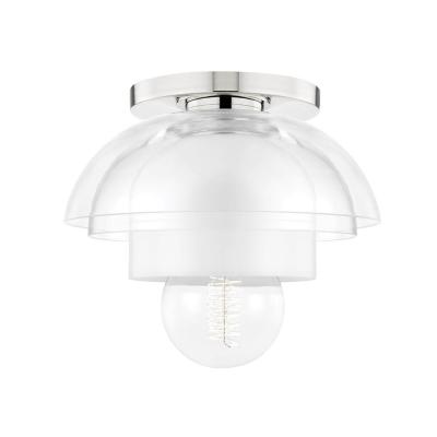 Ruby 8 in. 1-Light Polished Nickel Flush Mount