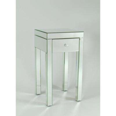 Cherry Beveled Mirror End Table