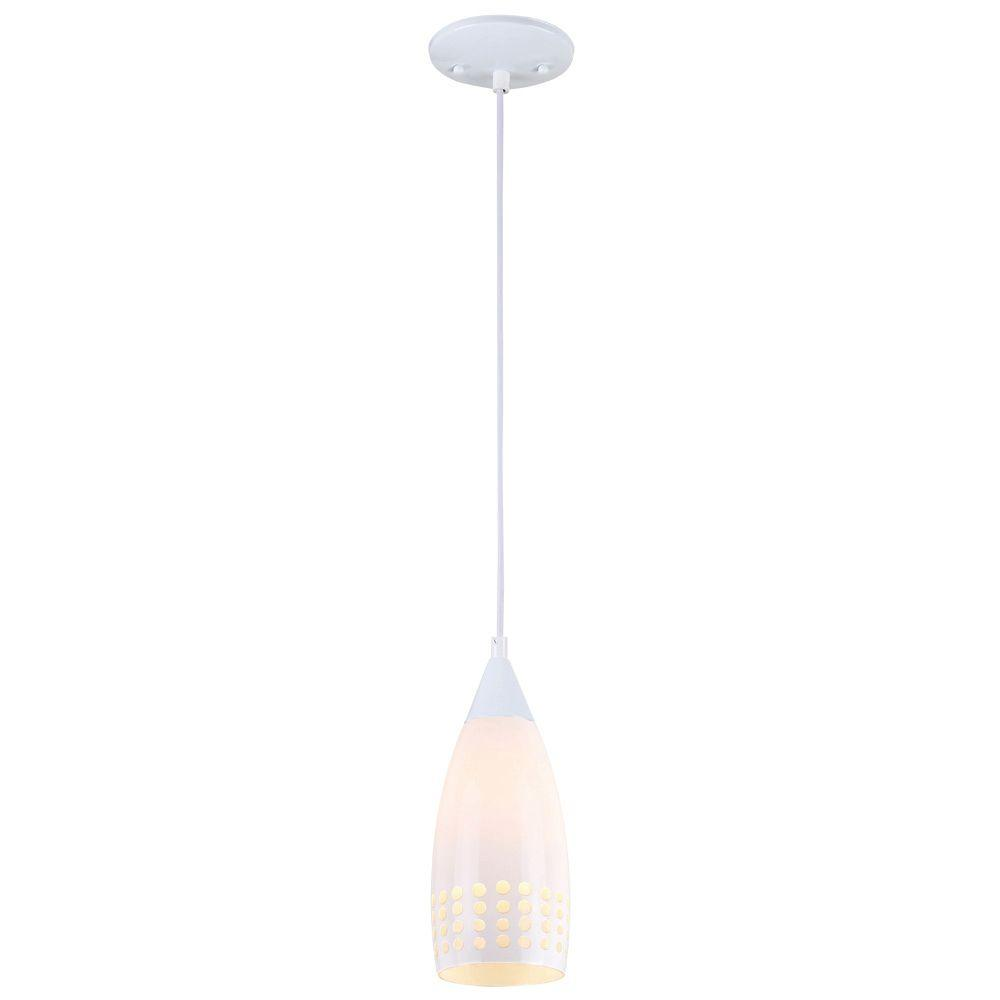 Westinghouse 1-Light White Adjustable Mini Pendant with Hand-Blown White Glass Shade