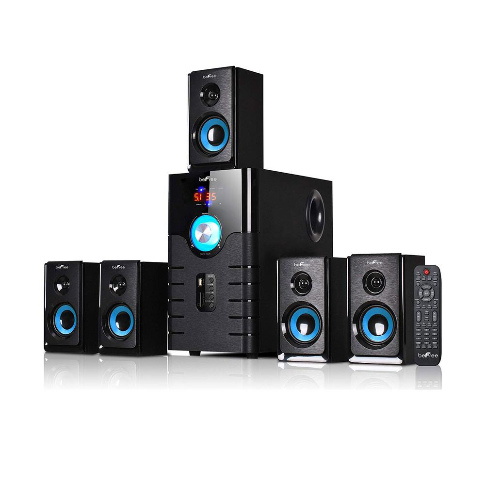 Befree Sound 5 1 Channel Bluetooth Surround Sound Speaker System In Blue 98592796m The Home Depot