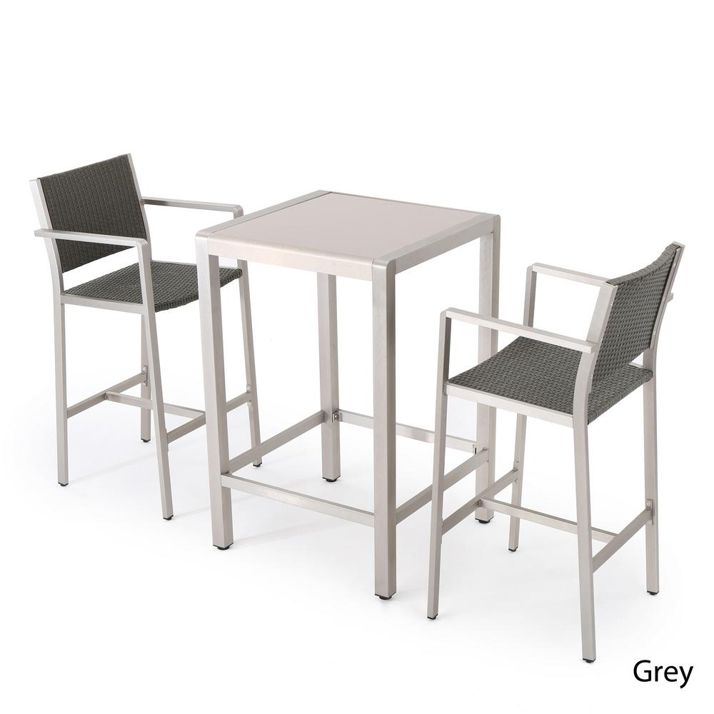 Details about outdoor bar height bistro set patio furniture silver aluminum square 3 piece new