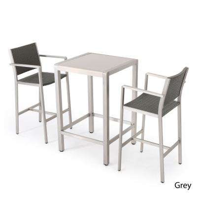 Cape Coral Silver 3-Piece Aluminum Square Outdoor Bar Height Bistro Set