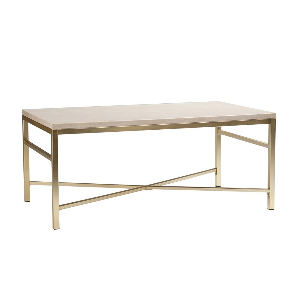 Southern Enterprises Nellie Faux Travertine And Matte Brass Coffee Table