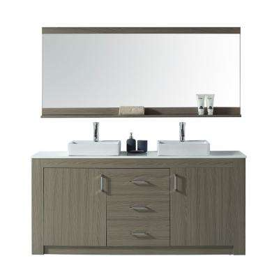Tavian 72 in. W Double Vanity in Grey Oak with Stone Vanity Top in White with White Basin with Faucet and Mirror
