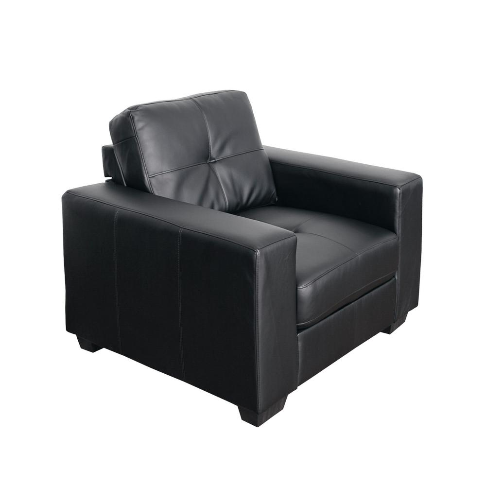 Club Tufted Black Bonded Leather Chair