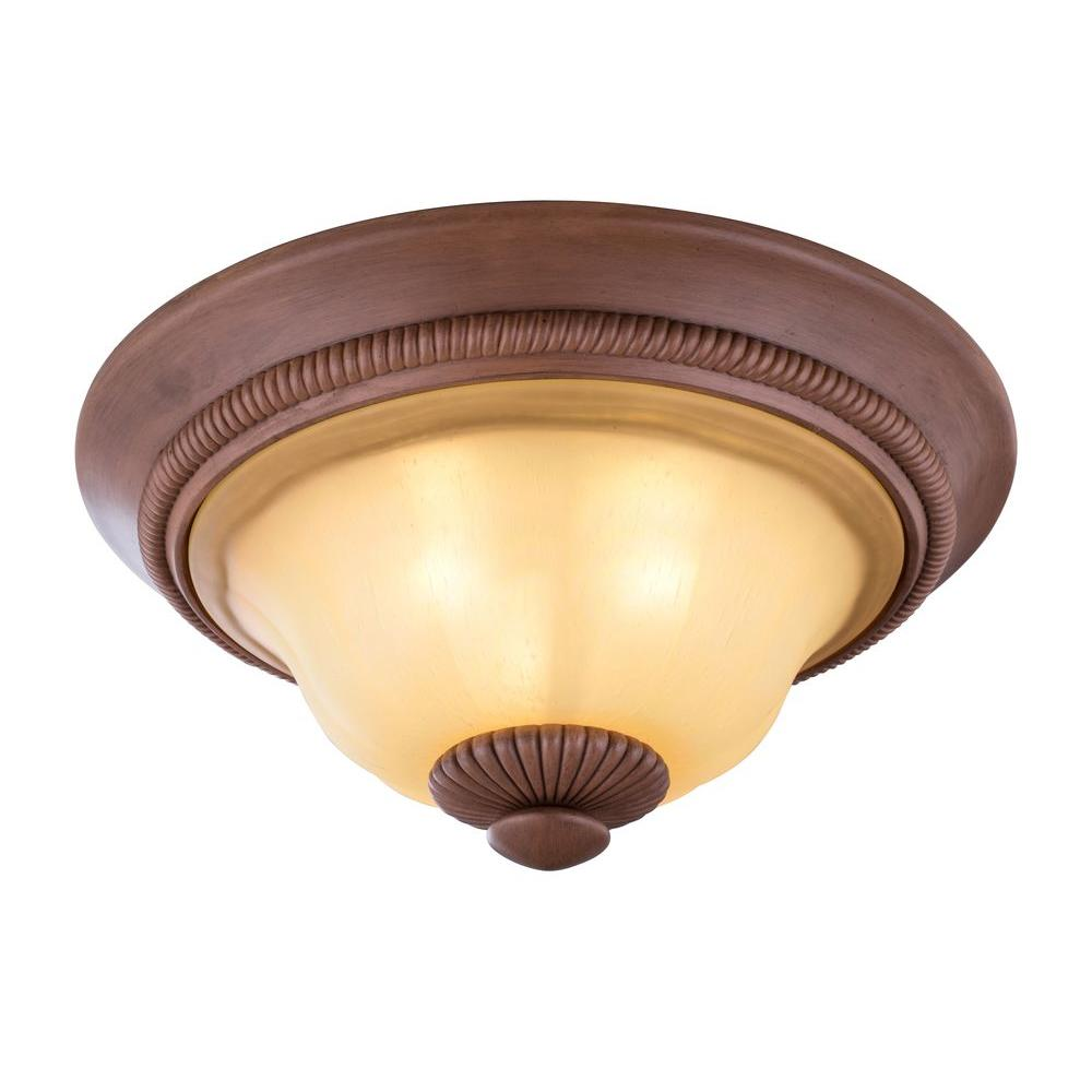World Imports Elysia Collection 3-Light Antiqued Gold Flushmount with Elegant Iridescent Amber Glass Shade