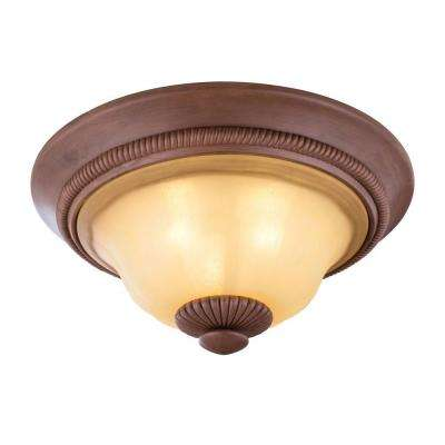 Elysia Collection 3-Light Antiqued Gold Flushmount with Elegant Iridescent Amber Glass Shade