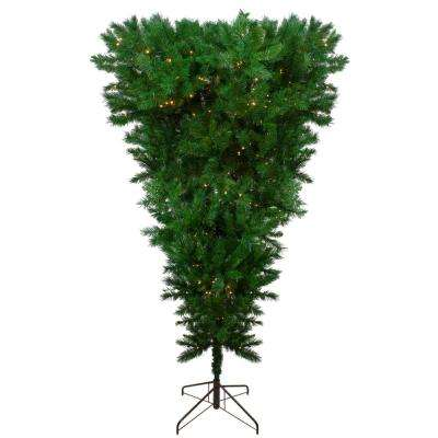 7 ft. Pre-Lit LED Sugar Pine Upside Down Artificial Christmas Tree with Clear Lights