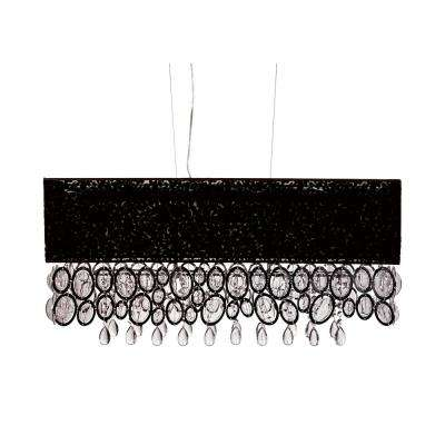 5-Light Black Island Pendant with Hanging Crystal Tapers