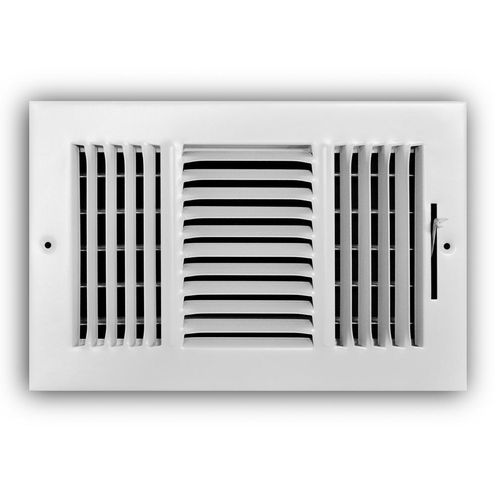 10 in. x 6 in. 3-Way Steel Wall/Ceiling Register in White