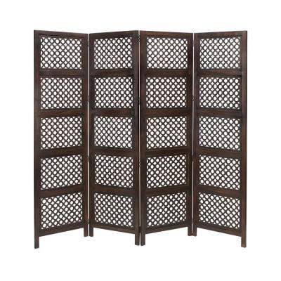 6 ft. Dark Brown 4-Door Panel Room Divider