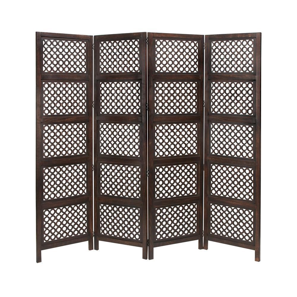 6 ft. Dark Brown 4-Door Panel Room Divider