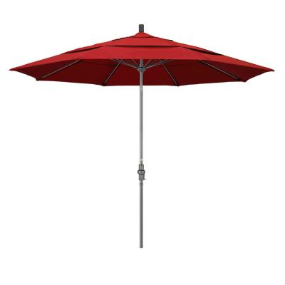 11 ft. Hammertone Grey Aluminum Market Patio Umbrella with Collar Tilt Crank Lift in Red Olefin