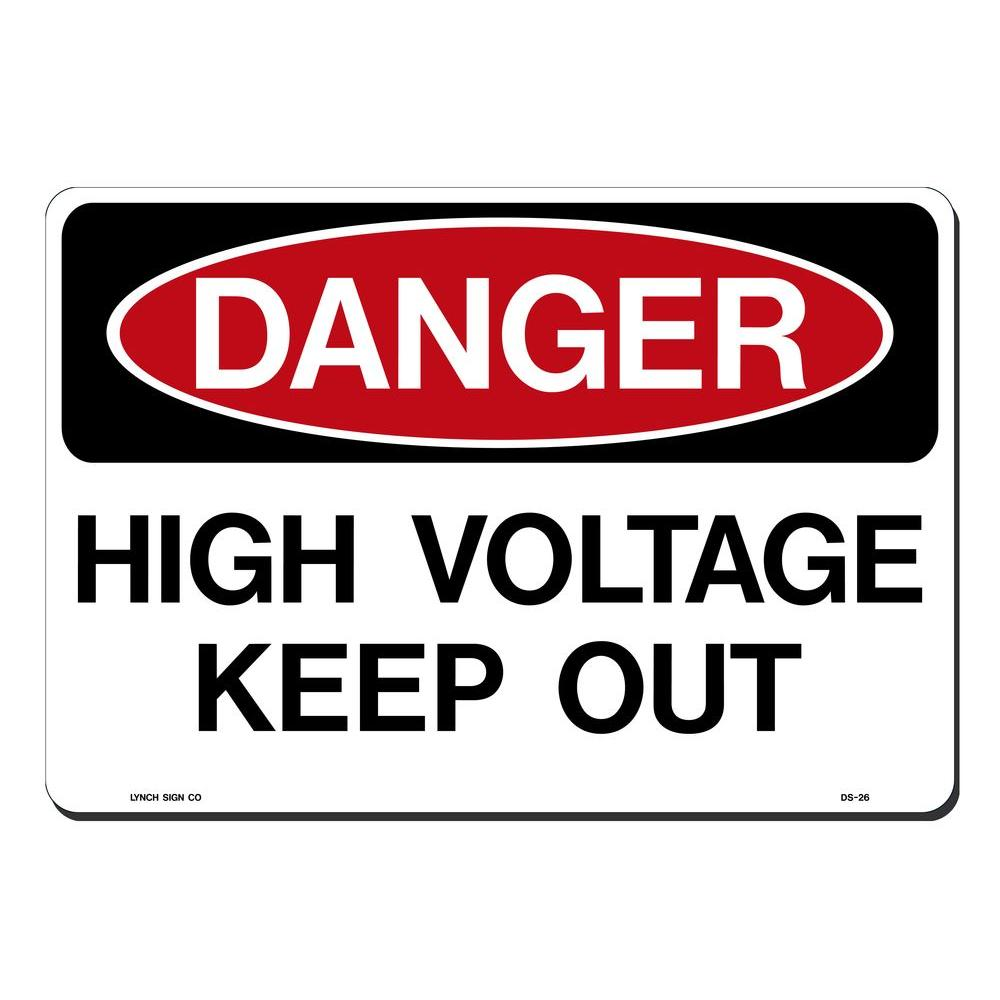 14 in. x 10 in. Danger High Voltage Sign Printed on