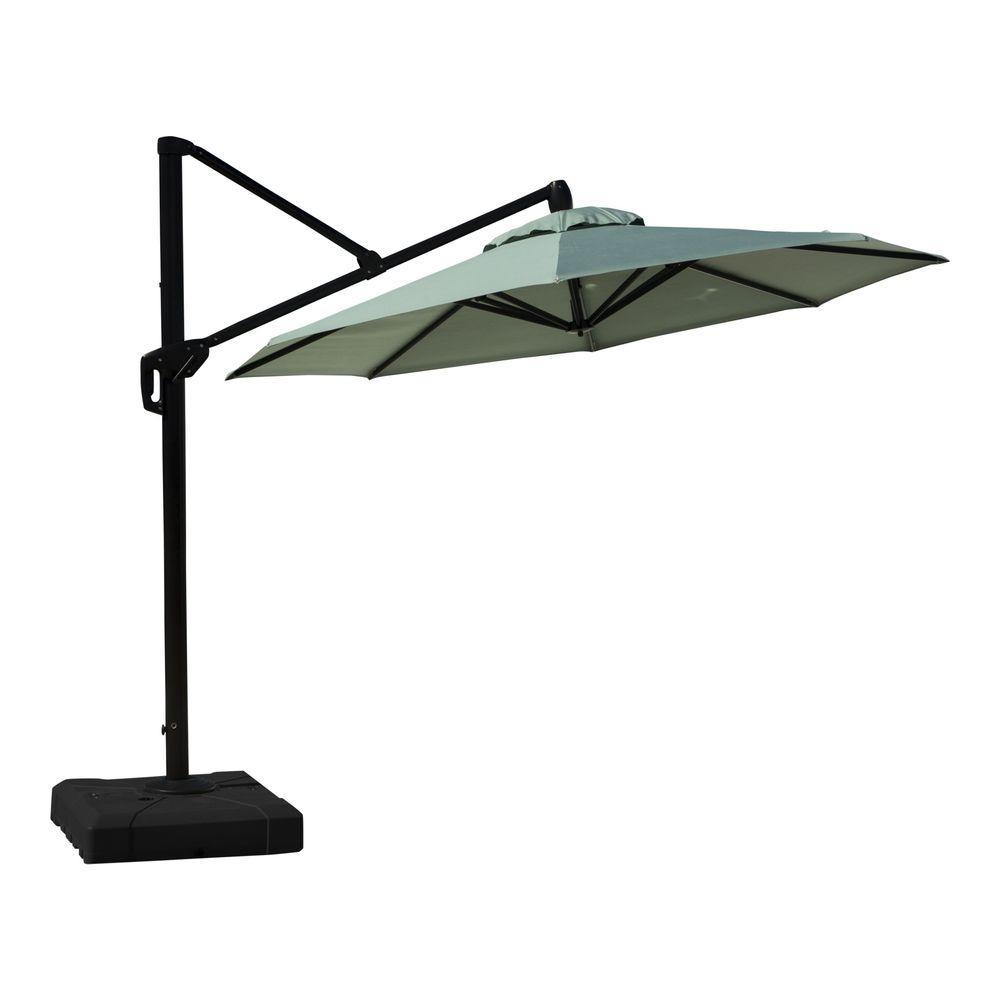 10 ft. Aluminum Round Tilt Patio Umbrella in Bliss Blue