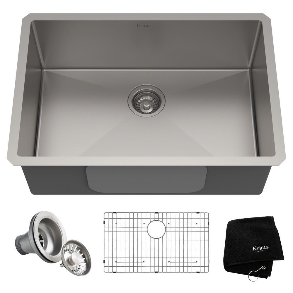 kraus standart pro undermount stainless steel 28 in single bowl kitchen sink - Undermount Stainless Steel Kitchen Sink