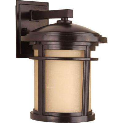 Wish Collection 1-Light Outdoor Antique Bronze Wall Lantern