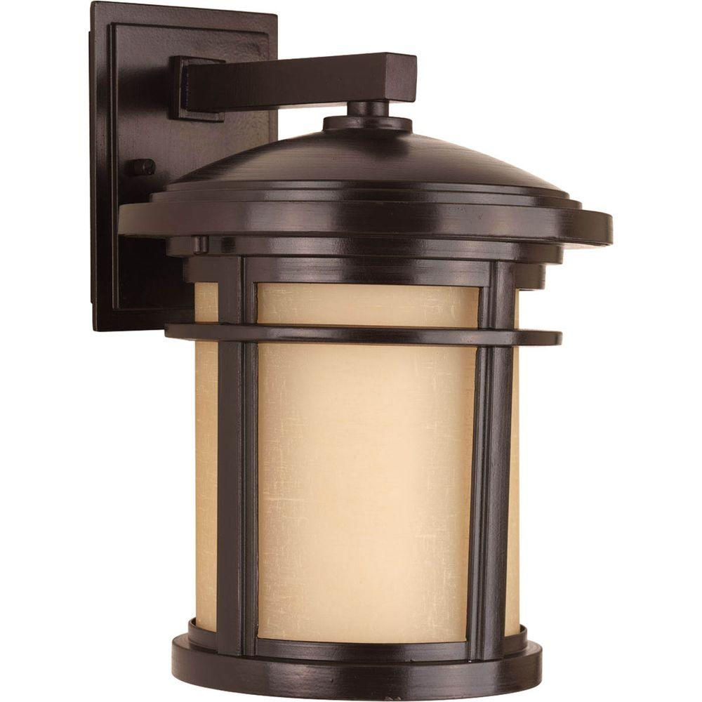 Progress Lighting Wish Collection 1-Light 12.5 in. Outdoor Antique Bronze Wall Lantern Sconce