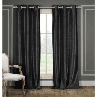 Solid Black Polyester Blackout Grommet Window Curtain - 38 in. W x 84 in. L (2-Pack)