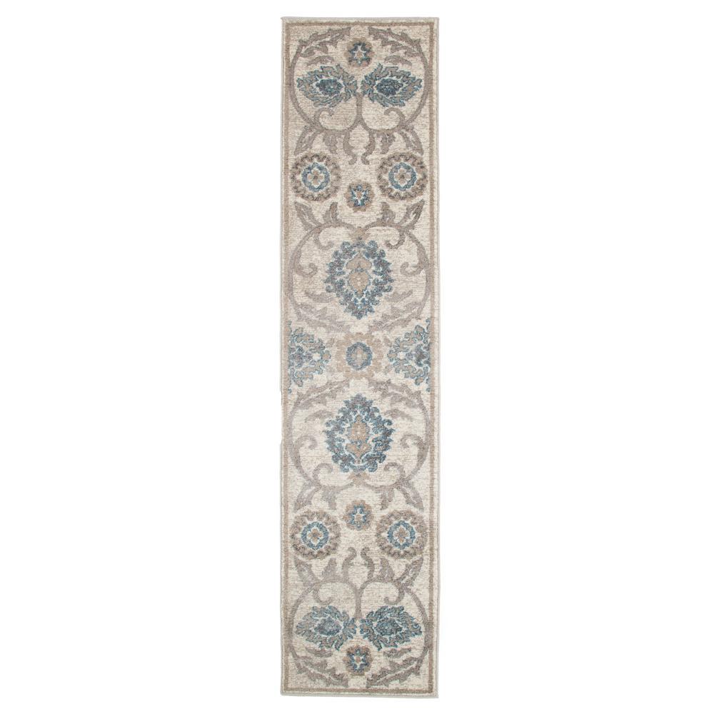 Vintage Elegant Floral Ivory Blue 1 ft. 8 in. x 7 ft. Runner