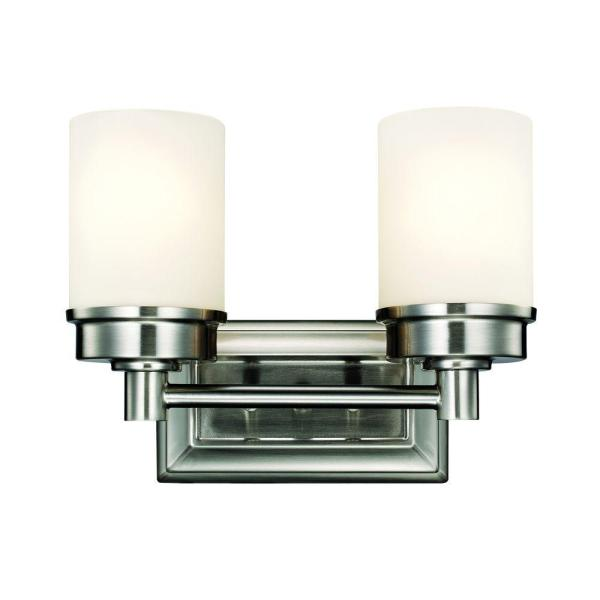 Cade 2-Light Brushed Nickel Vanity Light with Frosted Glass Shades
