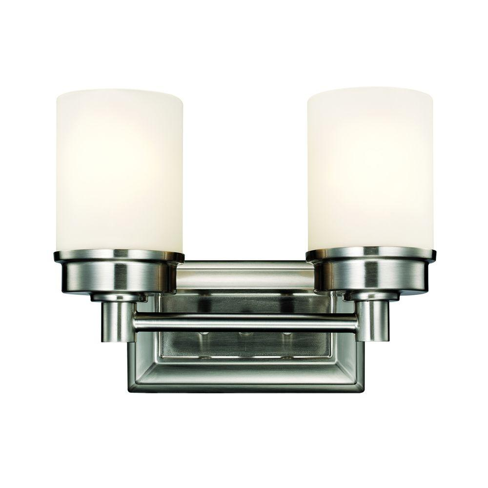 Hampton Bay Transitional 2 Light Brushed Nickel Vanity Light With Frosted Glass Shades
