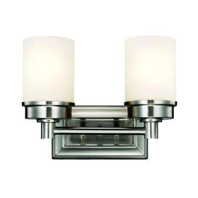 Transitional 2-Light Brushed Nickel Vanity Light with Frosted Glass Shades