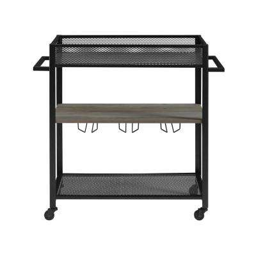 36 in. Hangers Grey Wash Bar Cart with Shelf