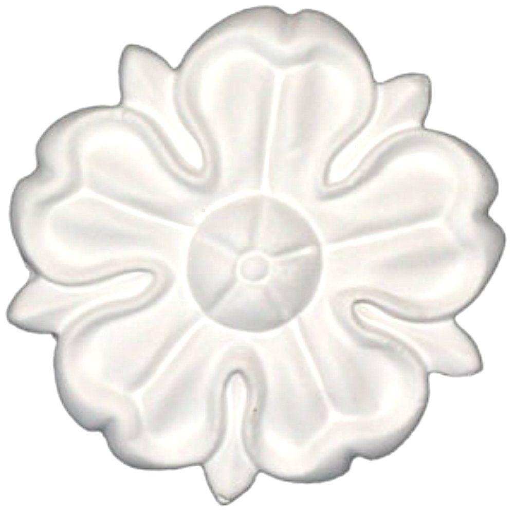 1/2 in. x 2-1/2 in. x 1/2 in. Floral Polyurethane Rosette