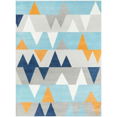 Modern Geometric Abstract Blue 5 ft. x 7 ft. Area Rug