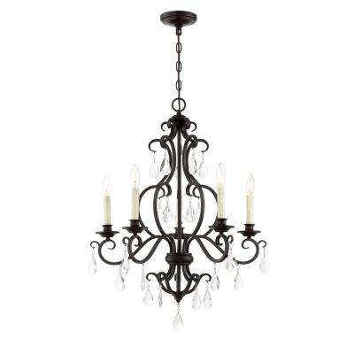 5-Light English Bronze Chandelier with Shade