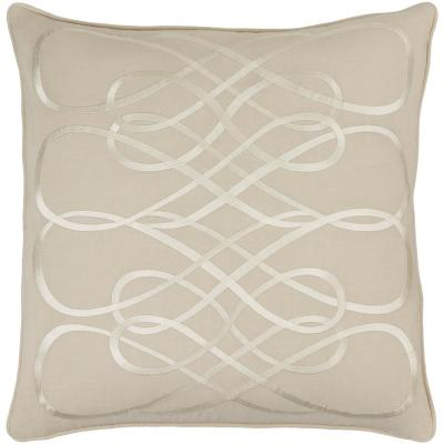 Bourdon Beige Geometric Polyester 18 in. x 18 in. Throw Pillow