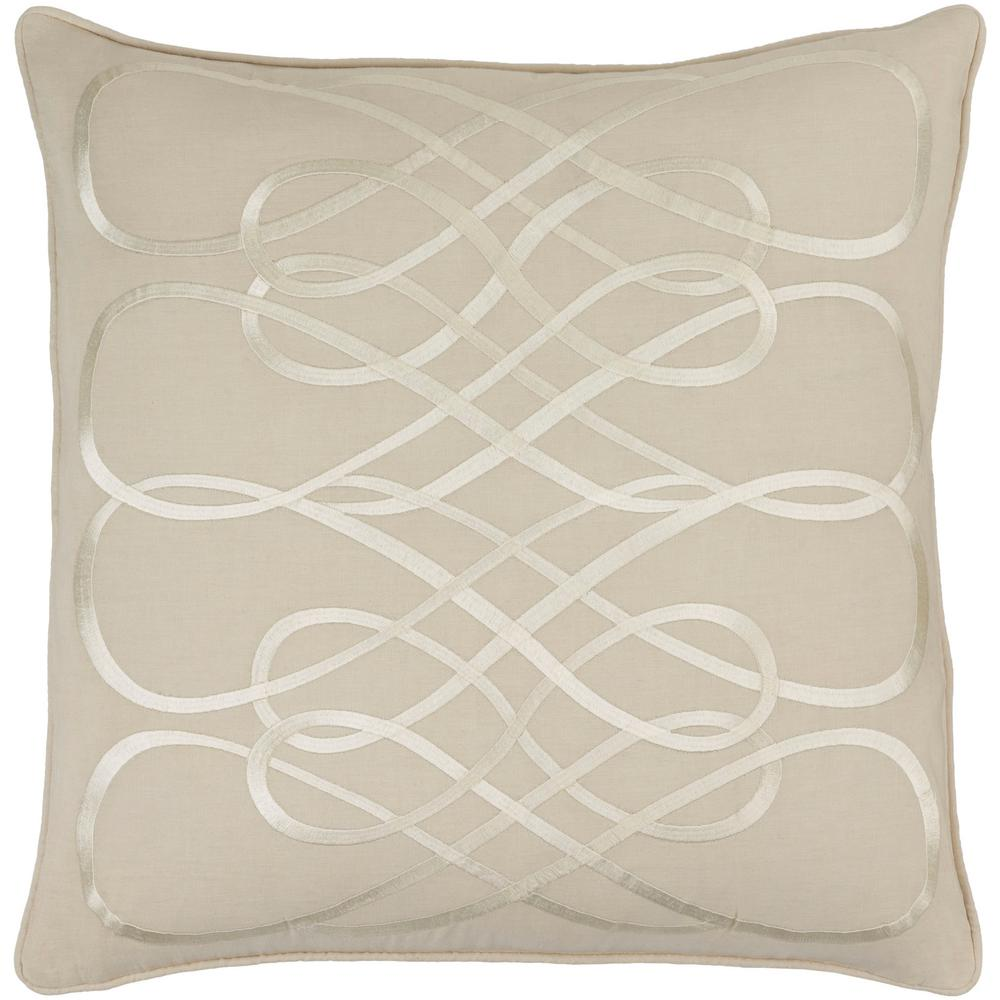 Bourdon Beige Geometric Polyester 22 in. x 22 in. Throw Pillow