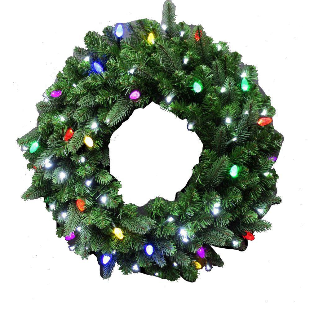 Front door christmas wreaths - Led Pre Lit Artificial Christmas Wreath With Concave Pure White Lights