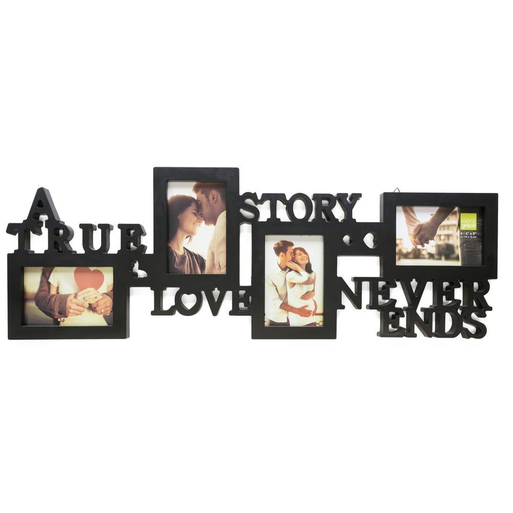 "kieragrace KG Collage Frame - True Love, Holds 4 - 4""x6"" Photos, Black"