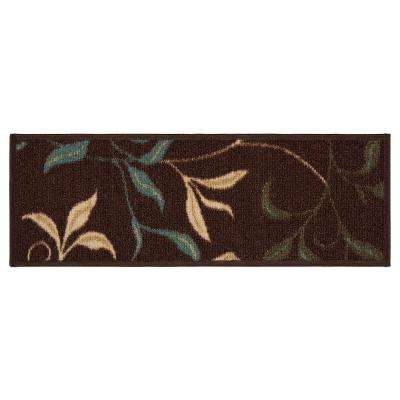 Ottohome Collection Chocolate Leaves Design 9 in. x 26 in. Rubber Back Stair Tread (Set of 14)