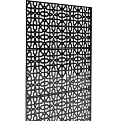 New Style MetalArt Laser Cut Metal Black CircleKnot Privacy Fence Screen (24 in. x 48 in. per Piece 3-Piece Combo)