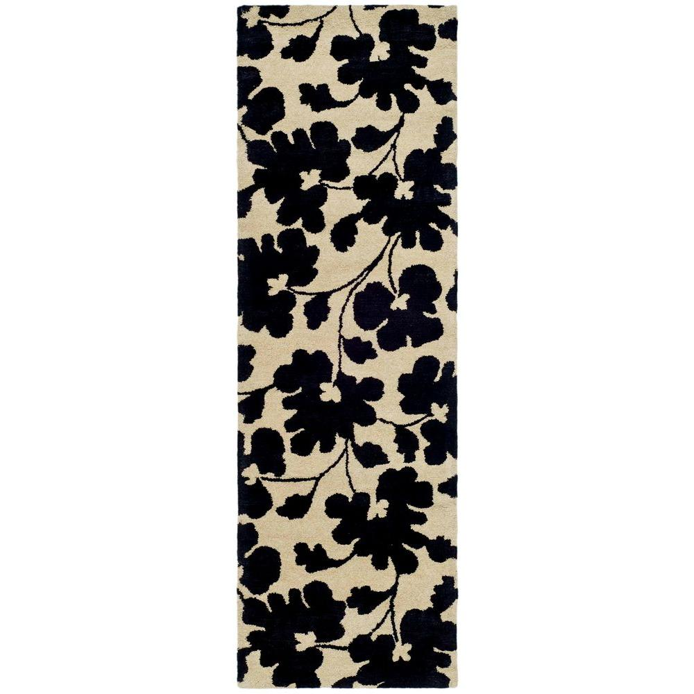 safavieh soho beige black 3 ft x 8 ft runner rug soh419a 28 the home depot. Black Bedroom Furniture Sets. Home Design Ideas