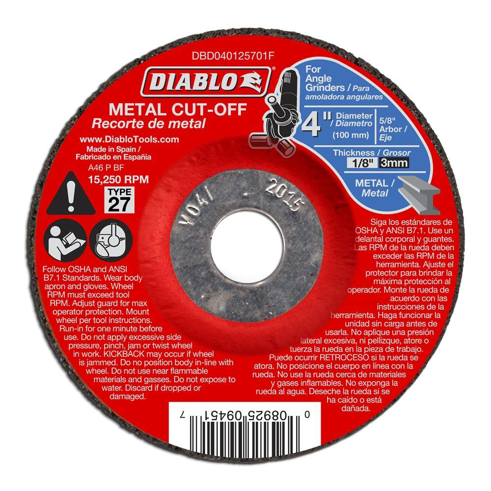 Diablo 4 in. x 1/8 in. x 5/8 in. Metal Cut-Off Disc with Type 27 Depressed Center (10-Pack)