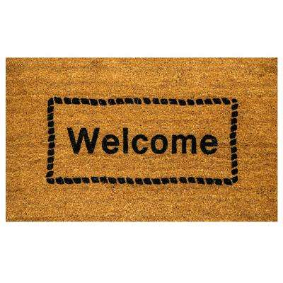 Vale Welcome Ivory/Black 18 in. x 30 in. Door Mat