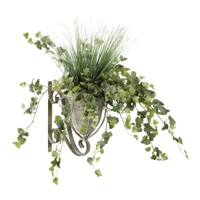 Indoor onion Grass and Ivy in Metal Wall Sconce