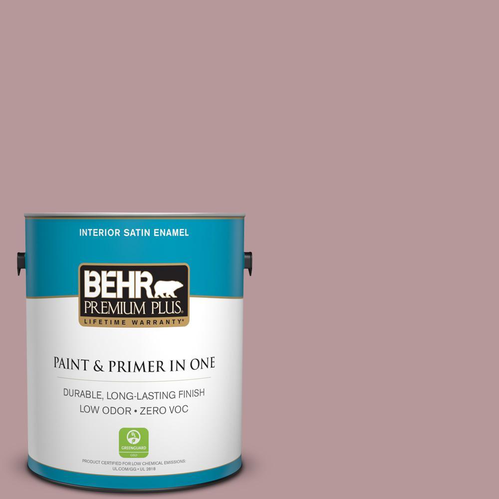BEHR Premium Plus 1-gal. #130F-4 Fond Memory Zero VOC Satin Enamel Interior Paint